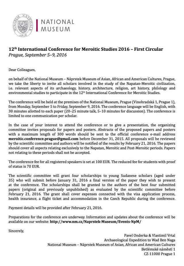 First Circular - 12th Meroitic Conference